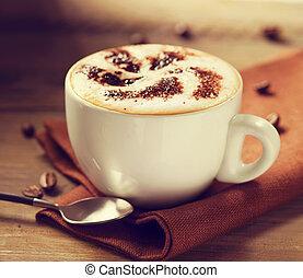 café, cappuccino, cappuccino., tasse