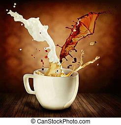 café, cappuccino, copo, leite, splashing., latte, ou