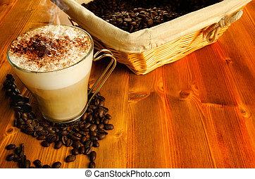 café, cappuccino, haricots