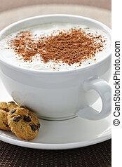 café, cappuccino, ou, latte