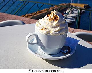 café, cappuccino, tasse, ou, latte, lait frais
