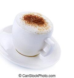café, capuchino, o, latte, encima, blanco