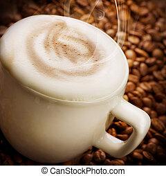 café, capuchino, o, latte