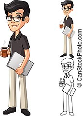 café, caractère, geek, cahier, tenue, dessin animé, lunettes