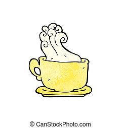 café, caricatura, copo