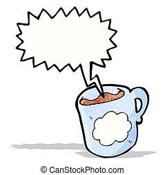 café, caricatura, jarra