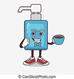 café, caricatura, mão, copo, personagem, mascote, sanitizer