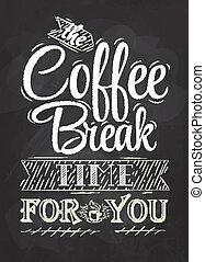 café, cartaz, partir, lettering