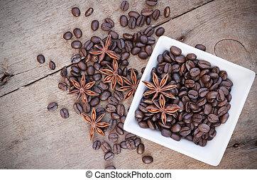 café, cerámico, estrella, de madera, anís, tazón, frijoles, Plano de fondo, blanco