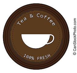 café chá, fresco, etiqueta