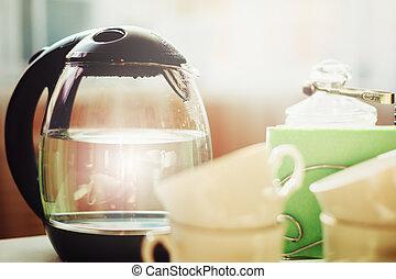 café chá, ou, bebendo, manhã
