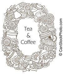 café chá, pattern., esboço, doodles