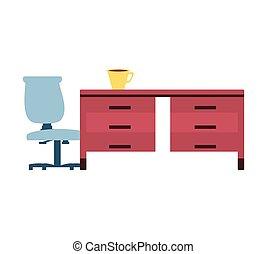 café, chaise bureau, bureau, tasse