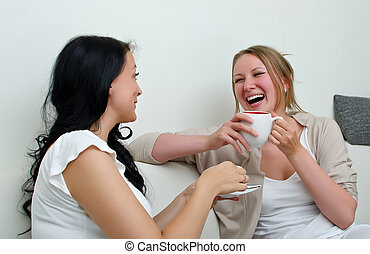 café, charlar, encima, dos, hogar, amigos, mujeres