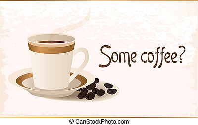 café, chaud, grains, tasse