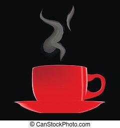 café chaud, tasse rouge