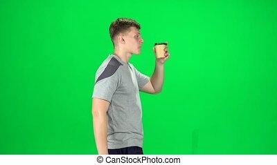 café, chroma, marche, cup., boire, papier, vue côté, key., type