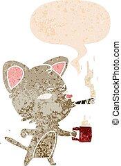 café, cigare, style, chat, parole, retro, textured, bulle, dessin animé