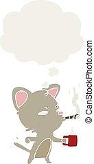 café, cigare, style, chat, pensée, retro, bulle, dessin animé