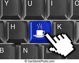 café, clef informatique, clavier