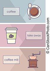 café, cobrança, ícones