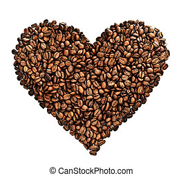café, coeur, sur, blanc