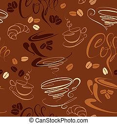café, coffee., croissant, restaurant, modèle, menu., seamless, calligraphic, conception, fond, texte, tasses, haricots, café, ou