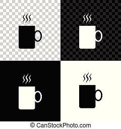 café, coffee., cup., tasse, thé, boisson, isolé, illustration, arrière-plan., chaud, vecteur, noir, blanc, transparent, icône