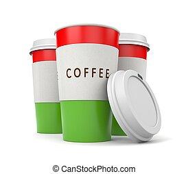 café, coffee., emporter, illustration, cap., thermo, 3d