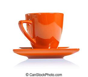 café, coloreado, taza, aislado, plano de fondo, naranja, ...