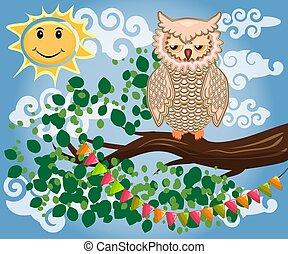 café, coloridos, encantador, caricatura, bebida, dois, árvore., owl-girls, ramo, luminoso, florescendo, manhã, pequeno almoço