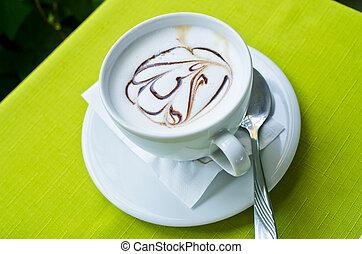café, com, forma, ligado, a, espuma