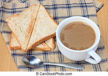 café, com, pão, pequeno almoço