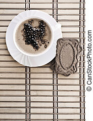café, composición, de, cappuchino, en, estera
