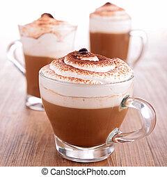 café, con, crema, espuma