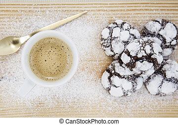 café, con, galletas pastilla chocolate