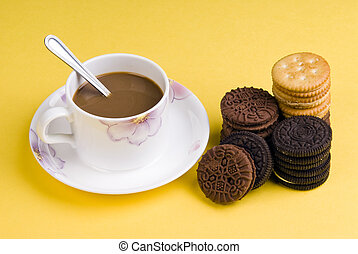 café, con, galletas