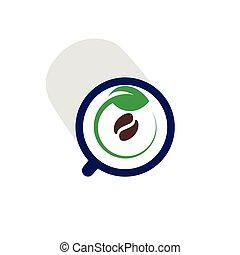 café, con, hoja, verde, logotipo, icono, vector