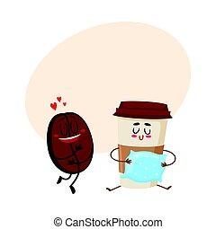 café, conceito, amor, copo, espresso, feijão, caráteres