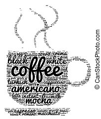 café, conceito, palavra, nuvem
