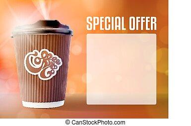 café, concept, eps10, arrière-plan., vecteur, orange, bannière