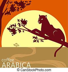 café, concept, idée, arabica, étiquette, conception