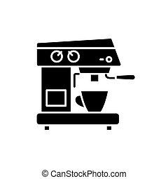 café, concept, isolé, illustration, signe, machine, arrière-plan., vecteur, noir, icône, symbole