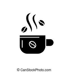 café, concept, tasse, isolé, illustration, signe, arrière-plan., vecteur, noir, icône, symbole