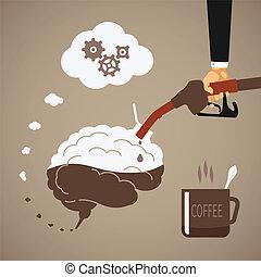 café, concept, vigoureux, esprit, caféine, vecteur, ou