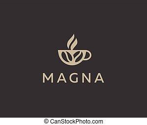 café, conception, tasse, vecteur, haricots, logo, template.
