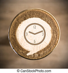 café, concepto, arte, tiempo matutino, latte, diario