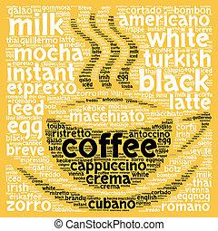 café, concepto, palabra, nube