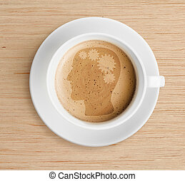 café, concepto, refrescante, taza, espuma, cerebro