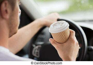 café, conduite, voiture, quoique, boire, homme